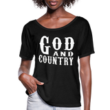 God And Country T-Shirt,Religion Country Music New Girl Funny Patriot American,Country Music Flowy T-Shirt - black