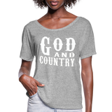 God And Country T-Shirt,Religion Country Music New Girl Funny Patriot American,Country Music Flowy T-Shirt - heather gray