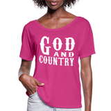 God And Country T-Shirt,Religion Country Music New Girl Funny Patriot American,Country Music Flowy T-Shirt - dark pink