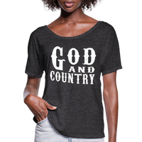 God And Country T-Shirt,Religion Country Music New Girl Funny Patriot American,Country Music Flowy T-Shirt - charcoal gray