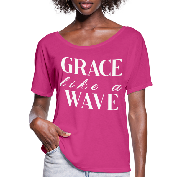 Grace like a wave T-shirts, Grace Like A WaveWomen's Christian Graphic Tee, Christian Shirts, Faith TShirts, Christian T shirts,Woman Flowy T-Shirt - dark pink