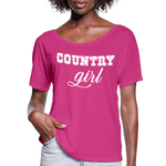 Country girl Tshirt,Country girl shirt,farm life, country life,country shirt,rodeo shirt,texas shirt,Country Music Flowy T-Shirt - dark pink