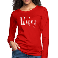 Wifey Shirt Woman, Sassy Mom T Shirt, Attitude Shirts Mum, Bossy Wife Tee, In charge Shirt, Whose The Boss, Funny Top Wife,Women's Premium Long Sleeve T-Shirt - imagineshops