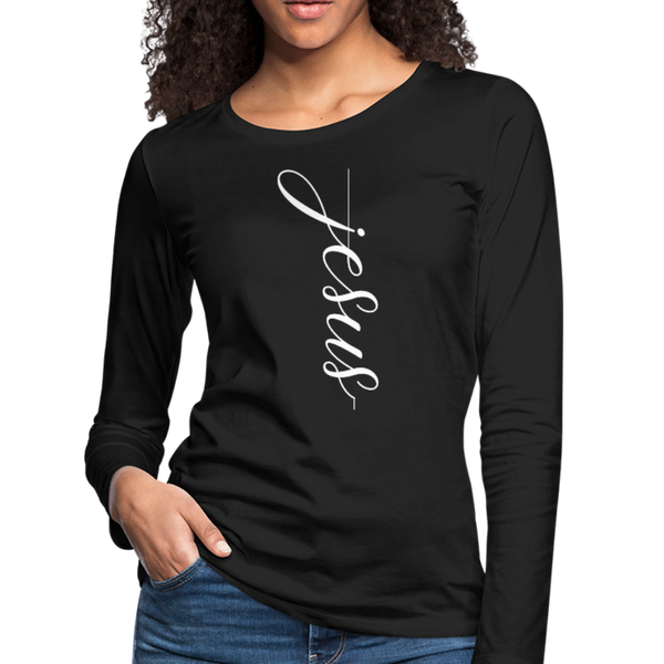 Jesus T-Shirt,Christian Shirt,Faith Shirt,Vertical Cross,Religious Shirt,Women's Premium Long Sleeve T-Shirt - imagineshops