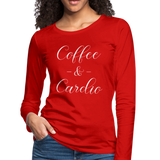 Coffee n Cardio, Funny Gym Shirt, Fitness Coffee Shirt, Workout Gym Shirt, Gym Apparel, Crossfit Top, Workout Graphic Tee,Women's Premium Long Sleeve T-Shirt - imagineshops