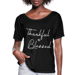 Thankful and Blessed Shirt,Fall Gifts,Fall Gift,Fall Gift Idea,fall Shirts,Pumpkin spice t shirts,Shirts for Fall,Thanksgiving shirts,Woman Flowy T-Shirt - black