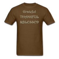 thanksgiving-003-Grateful Thankful Blessed Shirt,Fall Shirt,Grateful Shirt,Thankful Shirt,Blessed Shirt,Thanksgiving Shirt,Thanksgiving Shirt Unisex Classic T-Shirt - brown