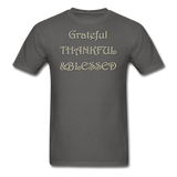 thanksgiving-003-Grateful Thankful Blessed Shirt,Fall Shirt,Grateful Shirt,Thankful Shirt,Blessed Shirt,Thanksgiving Shirt,Thanksgiving Shirt Unisex Classic T-Shirt - charcoal