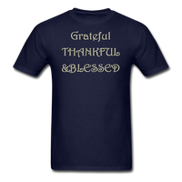 thanksgiving-003-Grateful Thankful Blessed Shirt,Fall Shirt,Grateful Shirt,Thankful Shirt,Blessed Shirt,Thanksgiving Shirt,Thanksgiving Shirt Unisex Classic T-Shirt - navy