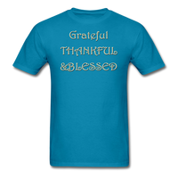 thanksgiving-003-Grateful Thankful Blessed Shirt,Fall Shirt,Grateful Shirt,Thankful Shirt,Blessed Shirt,Thanksgiving Shirt,Thanksgiving Shirt Unisex Classic T-Shirt - turquoise