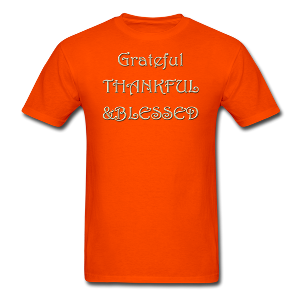 thanksgiving-003-Grateful Thankful Blessed Shirt,Fall Shirt,Grateful Shirt,Thankful Shirt,Blessed Shirt,Thanksgiving Shirt,Thanksgiving Shirt Unisex Classic T-Shirt - orange