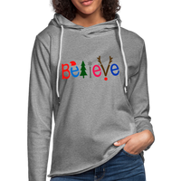 Believe For Christmas  ,Unisex Lightweight Terry Hoodie - heather gray