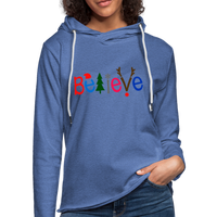 Believe For Christmas  ,Unisex Lightweight Terry Hoodie - heather Blue
