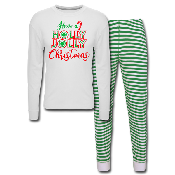 Have a Holly Jolly Christmas Unisex, Pajama Set - white/green stripe