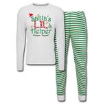 Santa s Lil Helper , Christmas,Unisex Pajama Set - white/green stripe