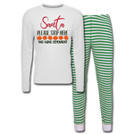 Santa Please Stop Here,We have Cookies gift Unisex Pajama Set - white/green stripe