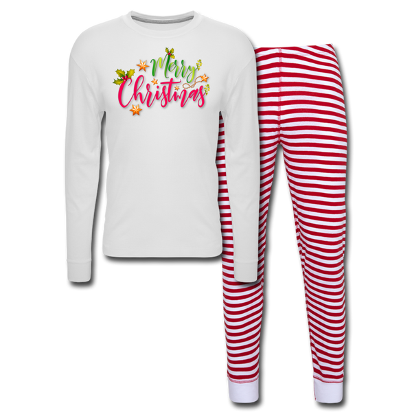 Merry Christmas  Unisex Pajama Set - white/red stripe