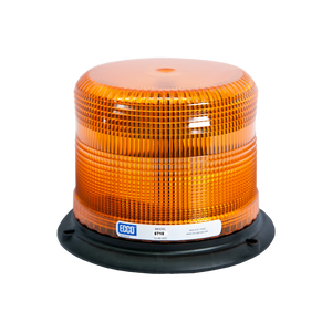Strobe Beacon: Reinforced polypropylene base, epoxy filled, low profile, 12-48 VDC, 7 or 10 joules, double or quad flash, amber