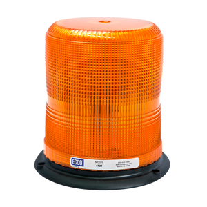 Strobe Beacon: Reinforced polypropylene base, epoxy filled, medium profile, 12-48 VDC, 7 or 10 joules, double or quad flash, amber