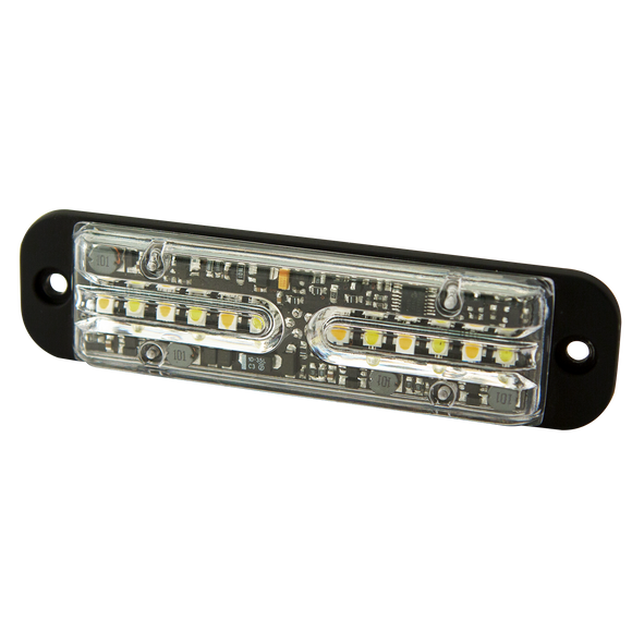 Directional LED: Dual-color, surface mount, 12 flash patterns, 12-24VDC