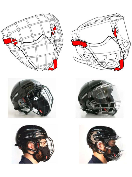 CCM Game On Hockey Face Mask - Player-Cage/Full Shield