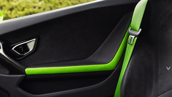 Green Colored Seat Belts In Car
