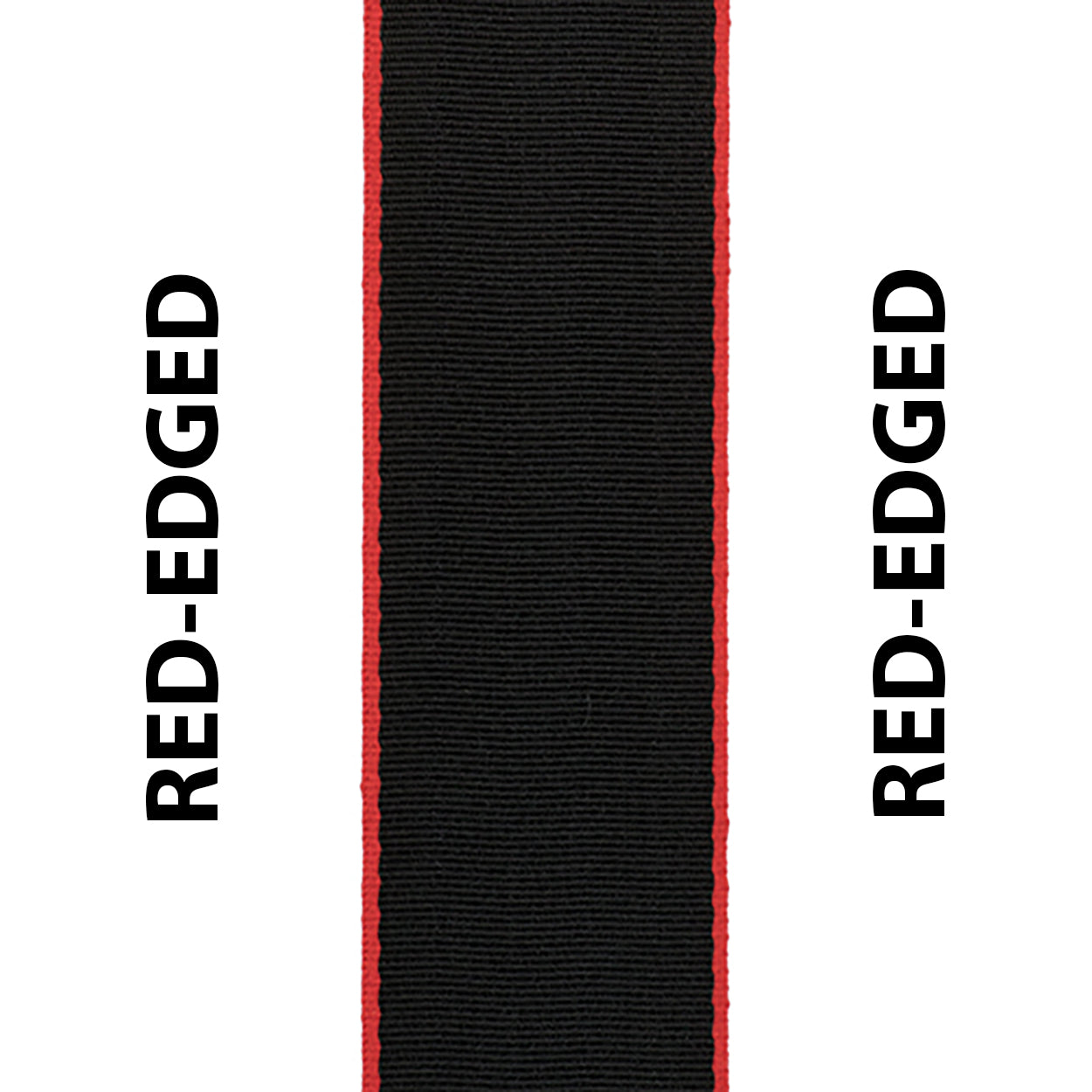 Red Edged Black Seat Belt Webbing Replacement Strap