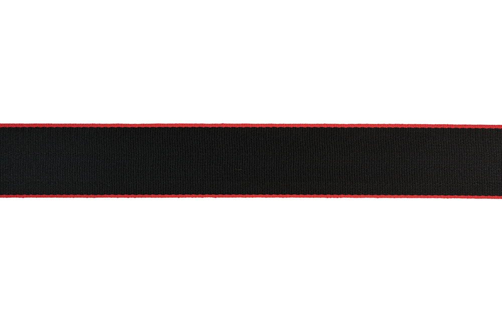 Red Edged Black Seat Belt Webbing