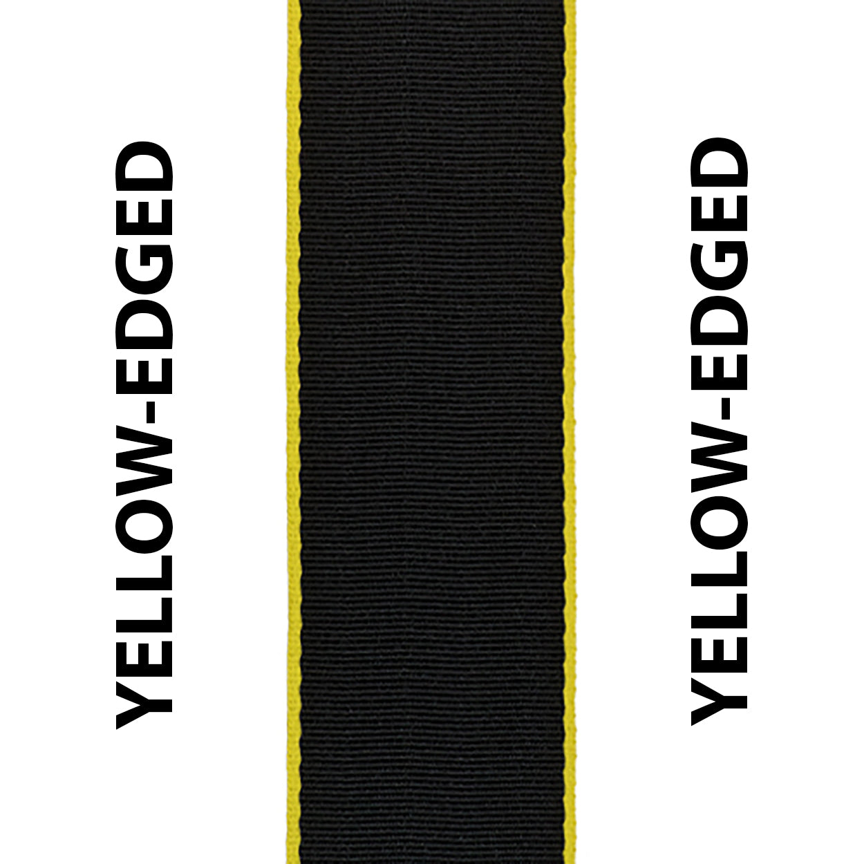 Yellow Edged  Black Seat Belt Webbing Replacement Strap