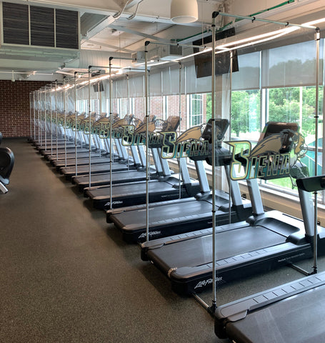 Partitions for treadmills gyms colleges