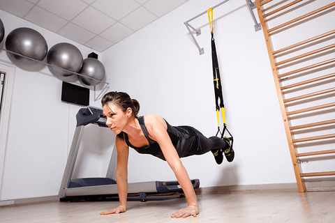 TRX suspension body weight trainer is a perfect idea for exercising in apartments and small spaces