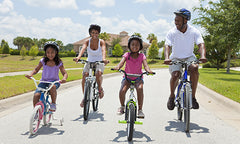family biking for fitness and exercise