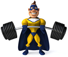superhero personal trainer workout lift weights barbell heros