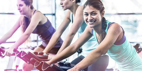 cardio group on exercise bikes