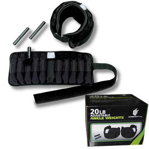 ADJUSTABLE ANKLE WEIGHTS - 20LB PAIR