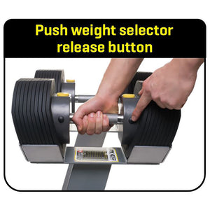 MX55 Selectorized Adjustable Dumbbells with Stand 1