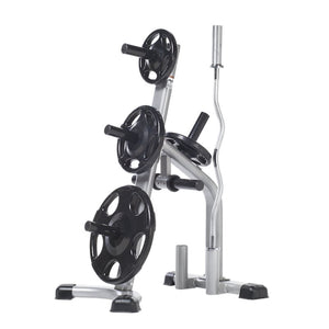 The TuffStuff Evolution Olympic Plate Tree (CXT-255) and barbell storage rack will keep your Olympic plates, curl bars, and power bars organized and off the floor.