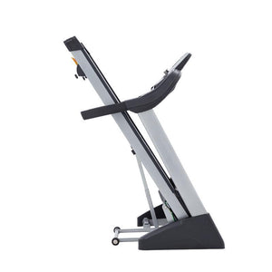 folding treadmill spirit fitness XT185 shown folded