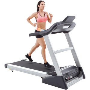Spirit XT385 Treadmill folding treadmill front and side view