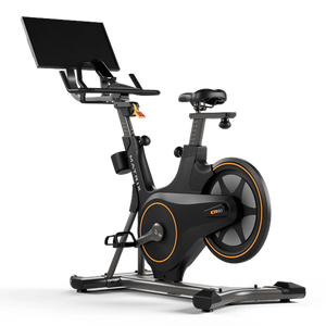 "Get a real studio cycling experience at home with a 22"" immersive exercise display that connects to your smartphone, tablet or digital media player to stream live and on-demand classes, motivating virtual courses or your favorite movies and shows from entertainment apps."