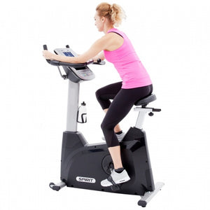 Spirit XBU55 Upright Bike side with model