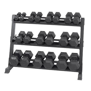 rubber dumbbells on a rack