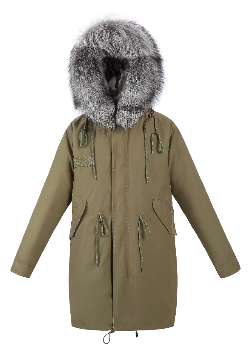 Classic Parka - Grey Mix Fox Lining - FURRY FURS