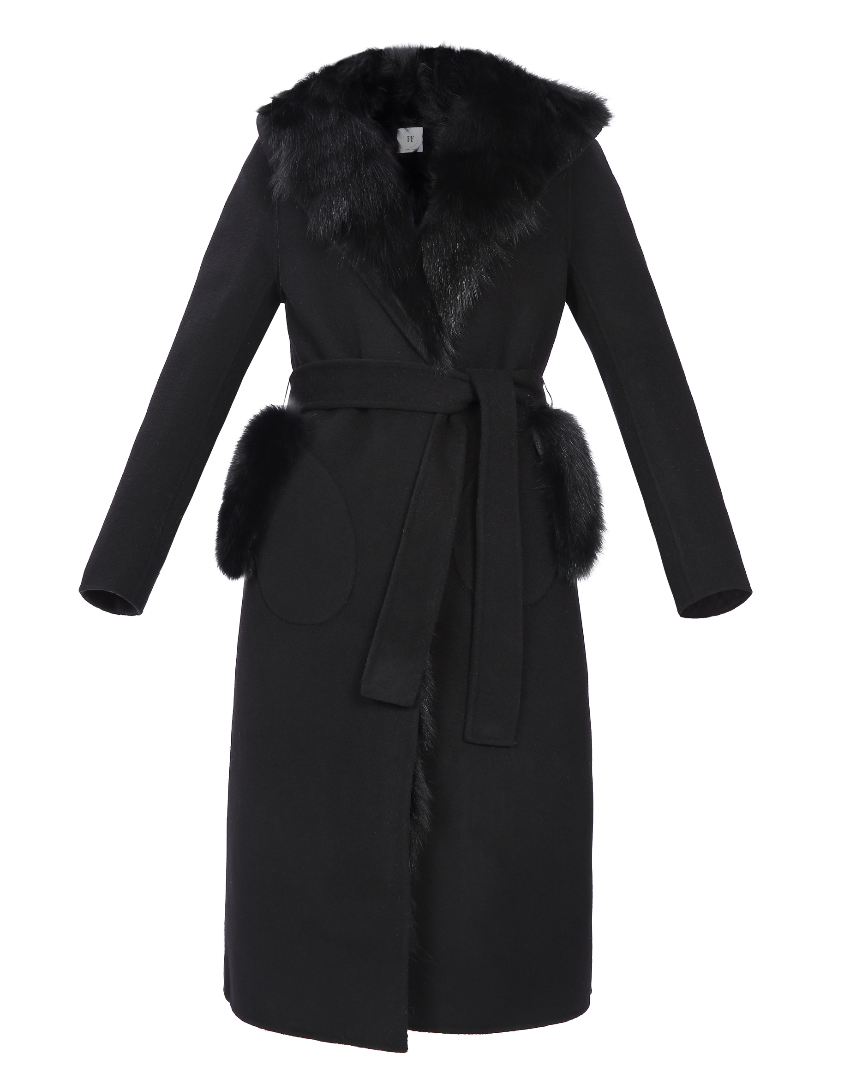Audrey Wool Coat with removable Fox Fur lining - FURRY FURS