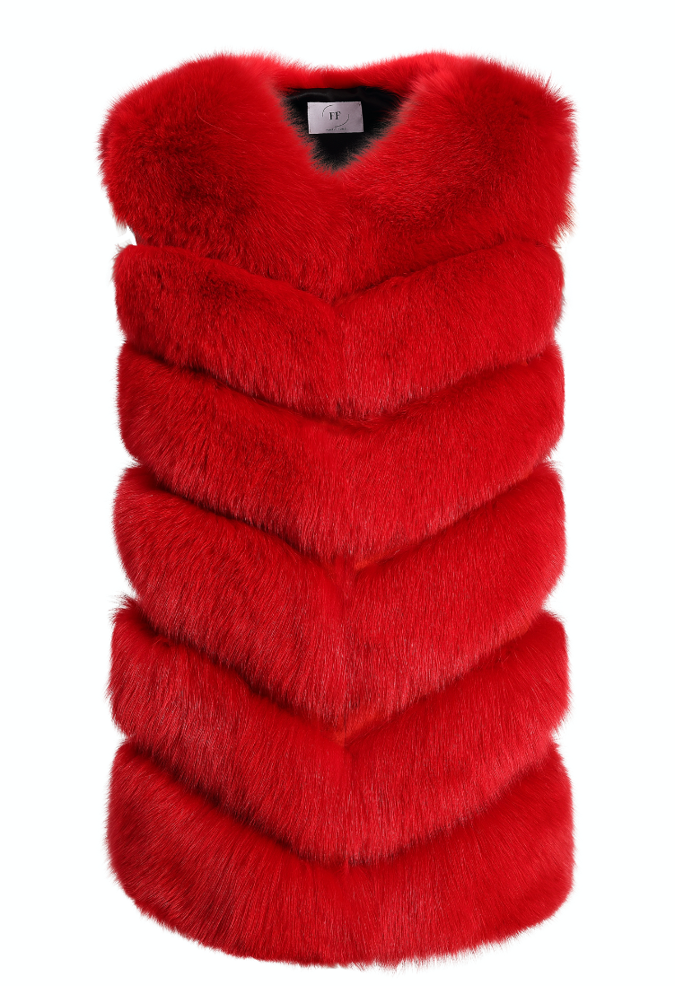 Adelle Gilet - Red - FURRY FURS