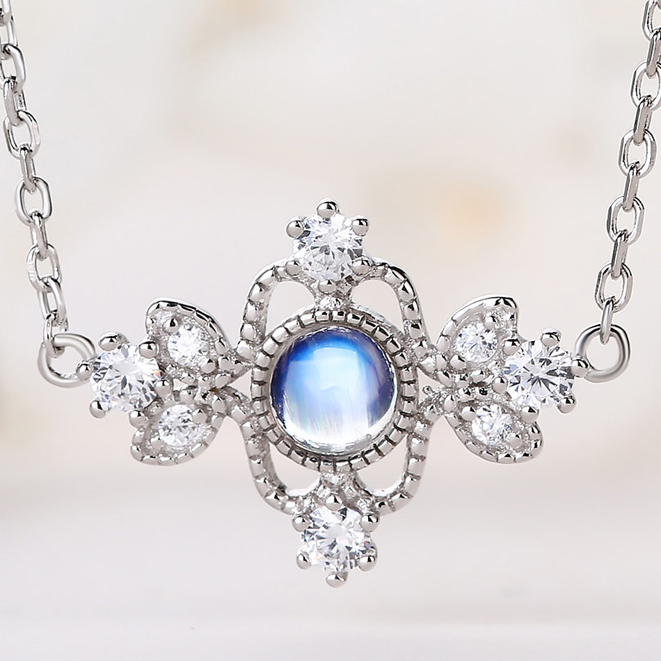 Noel™ 925 Sterling Silver Aurora Moonstone Necklace.
