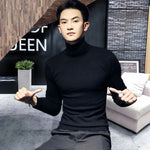 2019 Winter New Men's Turtleneck Sweaters Black Sexy Brand Knitted Pullovers Men Solid Color Casual Male Sweater Autumn Knitwear