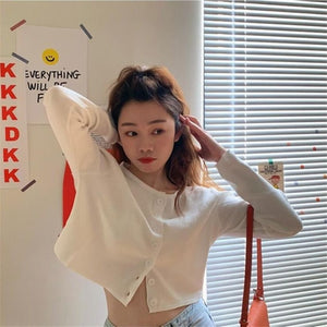 Korean Style O-neck Short Knitted Sweaters Women Thin Cardigan Fashion Short Sleeve Sun Protection Crop Top Ropa Mujer