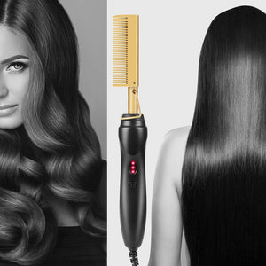 Hair Straightener Hot Heating Comb Smooth Iron Straightening Brush Corrugation Curling Iron Hair Curler Comb Multi-Function Use