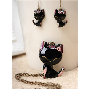 H9 Fashion - Cat Jewelry Sets - Cute Kitten Pendant Necklace and Drop Earrings For Women